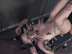Blonde slave acquiring pegged when racking in BDSM porn