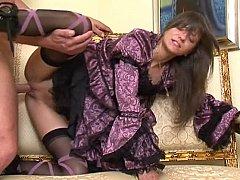 Sweet fashionable Lola in vintage dress having sex