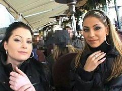 Innocent Czech chicks having fun in public places