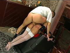 Palatable French maid having a duster pushed up her itchy arsehole for a...