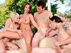 Bisexual Group Sex! See 2 Couples Fucking In The Backyard!...