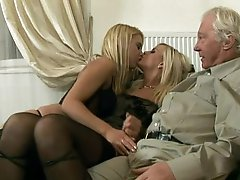 Classic Man Has An Amazing Threesome With Hot Golden-haired Honeys