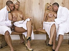 Busty ladies get screwed in sauna