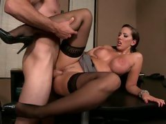 Kelly Divine widening her legs for a good office fuck