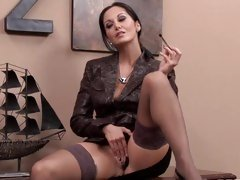 Slutty Ava Addams gives her dripping snatch a fingering