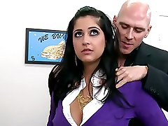 Super Breasty Brunette Office Slut Kimber Kay Receives Fucked and Facialized
