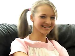 Gorgeous Pigtailed Blond Teen Dildoes Her Sweet Pussy