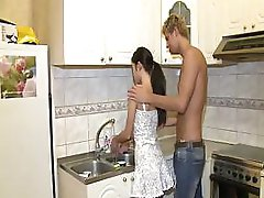 Salacious Dark-haired Full Body Workout In Kitchen