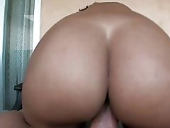 Huge booty ebony babe with pierced nipples gets her beaver rammed
