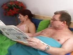 Lascivious granny engulfing old penis in the couch