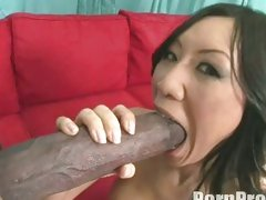 Asian Tia Ling gets a massive hard boner in her fascinating sexy mouth.