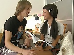 Lustful guy came to this sweet college girl to help her with the English...