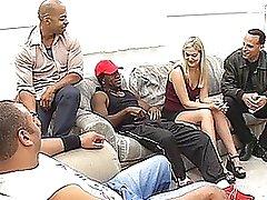 Sassy Blonde Receives An Interracial Gang bang