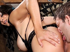 Slave enjoys licking his goddess hole and being slapped!...