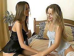 Beautiful Brunette Lesbian in Underware Five finger Her Girl's Pussy
