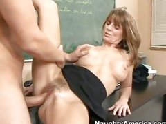 A hard cock acquires slammed into aged whore Trisha Lynne's hairy pussy.
