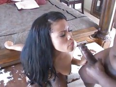 Lex Steele discharges his load in an ebon babe's face
