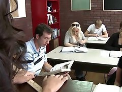Petite Jet-black hair Amia Miley Receives Her  Drilled By Her Teacher