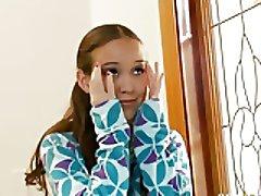 Gal tiny legal age teenager Amai Liu get two huge cocks