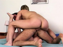 Two young gays testing a shy chubby girl...