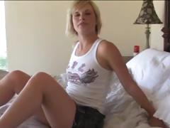Youthful blonde sweetheart gets her pussy nice and wet for step daddy's cock