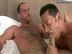 Excited gay dude likes slurping on a big cock and then getting drilled in his a-hole