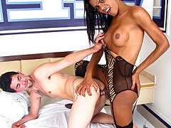 Hot latina lady-man enjoys her dick and a dick in her asshole...