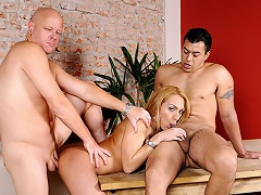 2 men share a blonde ladyboy who likes to do... everything!...
