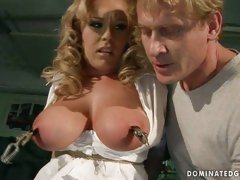 Tit tourture and toy fucking of desirable blonde sex slave