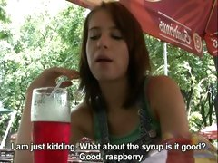 Hot Czech hotty takes money and gives a horny blowjob