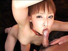 Japanese beauty in bondage sucking and toyed