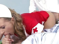 Naughty nurse drilled by doc as she sucks off patient