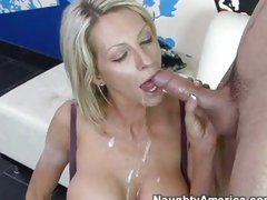 Aged babe Emma Starr enjoys river of cum flowing down her mouth