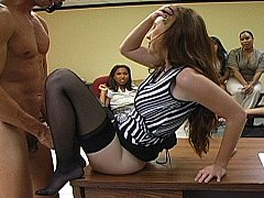 Concupiscent Office girls getting dirty with male striper