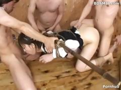 Japanese gal is fastened up and blindfolded as they takes turns with her