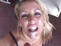 Charming Chelsea Zinn acquires her face splattered with cum