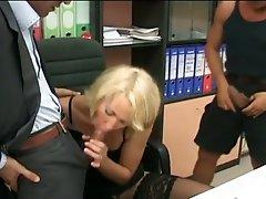 Blond milf secretary acquires double schlong fun