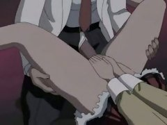 Hentai whore getting a huge cock rammed up her tiny soaked aperture