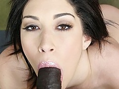 Huge ass white floozy Vanessa James takes a huge dark dick in her...