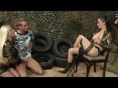 British sluts Cindy B and Kaia K in a FFM threesome