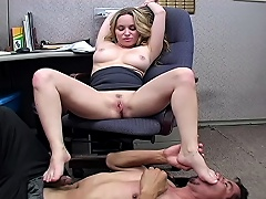 Office slut makes the janitor lick her perspired armpit & feet...