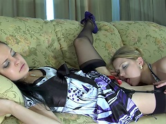 Blonde lezzie waits for her girlfriend aching for wet kisses and a...