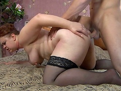 Lascivious mom lets a muscle guy hike up her skirt for a from-behind...