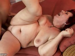 Curvy mom Hetty loves some lascivious cock penetration on the couch
