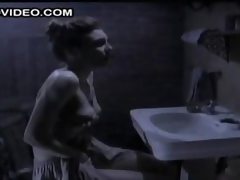 Horny Brunette Maria Ford Rubs Her Perky Boobs with the addition of Masturbates