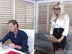Sex-appeal secretary in nylons and short comprehensive Kylie Page is fucked in the date