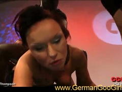 Nasty brunette german whore serving huge cocks in hot gang bang