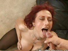 Nikki Sinn working her sexy milf body on a knob and then getting  a money shot