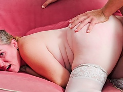 Tattooed GILF receives her constricted ass drilling cavity fuck by younger man...