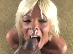 Sexually excited Jordan Blue acquires her face covered with dick cream